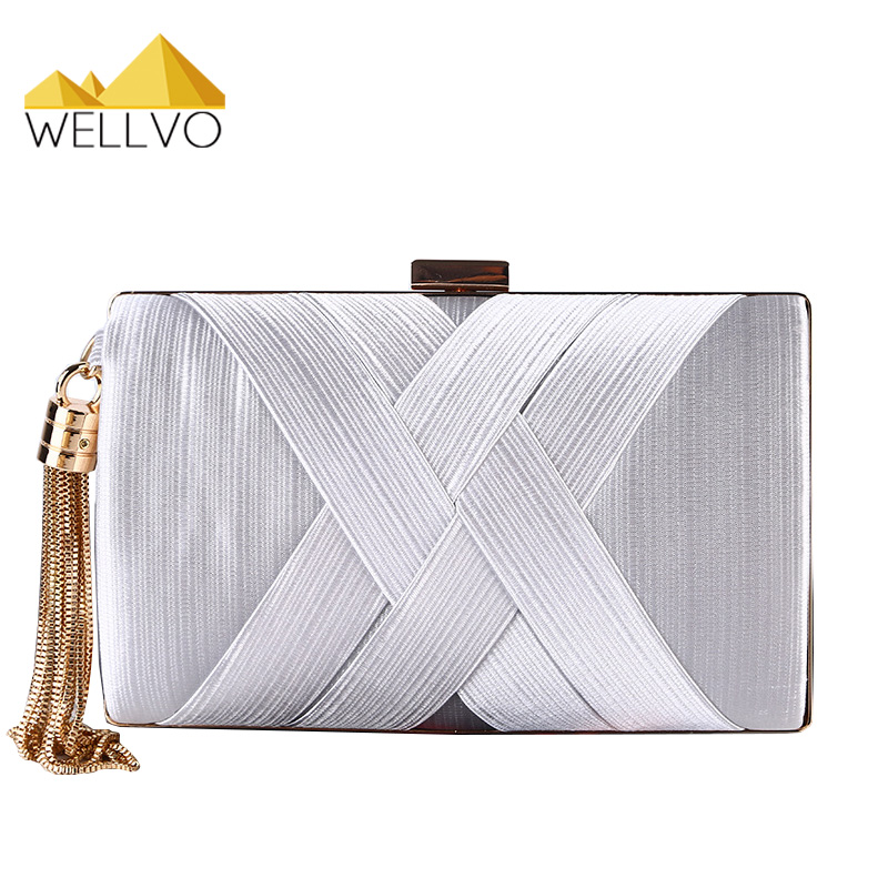 Women Day Clutch Satin Mini Evening Bag Tassel Chain Hand Bag Briday Wedding Party Bags Ladies Clutches Famous Luxury XA1996c luxury knitting cheongsam clutch bag oval plaid evening bag famous brand day clutch chain shoulder messenger bag party purses