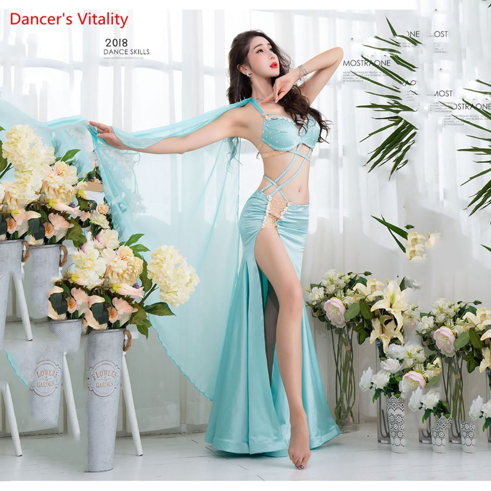 Belly Dance Costume Women 2018 New Sexy Silk Oriental Dance Competition Luxury Bra Bifurcation long Skirt