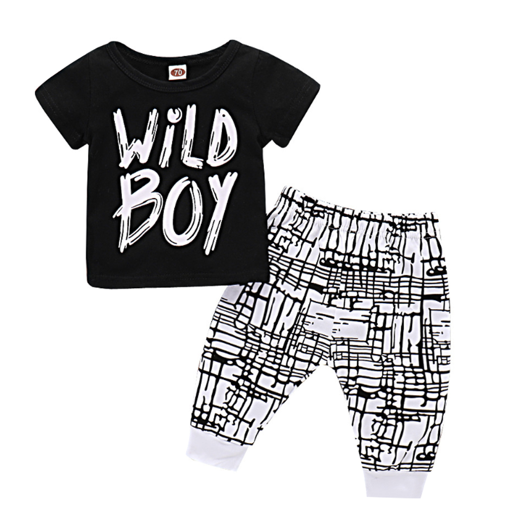 2018 Fashion Baby Boys Wild Boy Letters Printed Short Sleeve T-Shirt Plaids Pants Summer Spring Casual 2Pcs Clothes Set Outfit