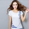 Summer Tops New National Style Ladies Fashion Tops Printed Cotton Short sleeve T-shirt Leisure Large size Slim Women Tops G2531