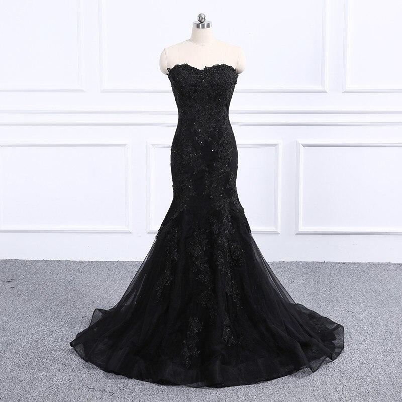 Vestido De Festa Luxury black Lace Appliques Beaded mermaid Long Evening   Dress   2019 Party   Prom     Dress   Robe De Soiree
