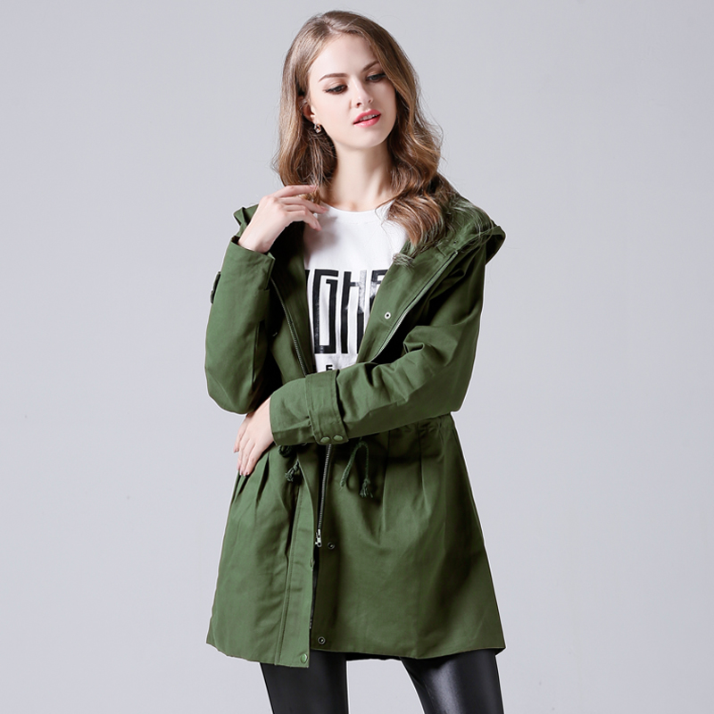 Trench-Coat Windbreaker Hooded Autumn Plus-Size Women Long For Waist-Thin JR9502 And