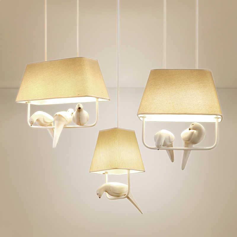 Средиземноморский свет 3 птицы чердак подвесной светильник в стиле ретро ресторан балкон столовая Прихожая кафе магазин светильники E27 люстра из ткани
