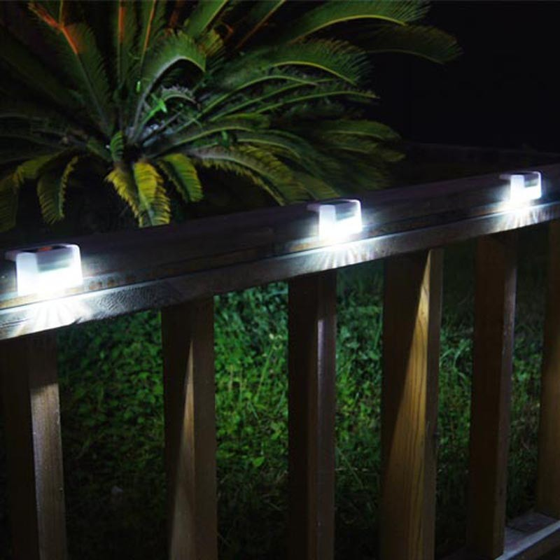 Security LED Solar Panel Fence Stair Step Rail Light Garden Outdoor Waterproof Lamp Ener ...