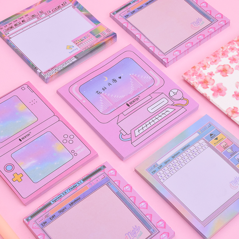 novelty pink computer game console memo pad memo sticky paper sticker kawaii stationery pepalaria office school supplies