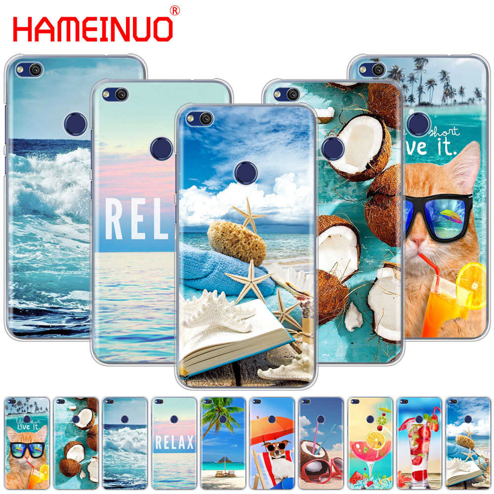 Half-wrapped Case Gerleek Case For P8 P9 P10 P20 Lite Pro Mini Plus P Smart 2019 Cover Phone The Sea Waves Beach Spray Ocean Island