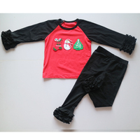Christmas Suits For Girls Red Black Raglan Ruffle Icing T Shirts For Children Christmas Boots Snowman