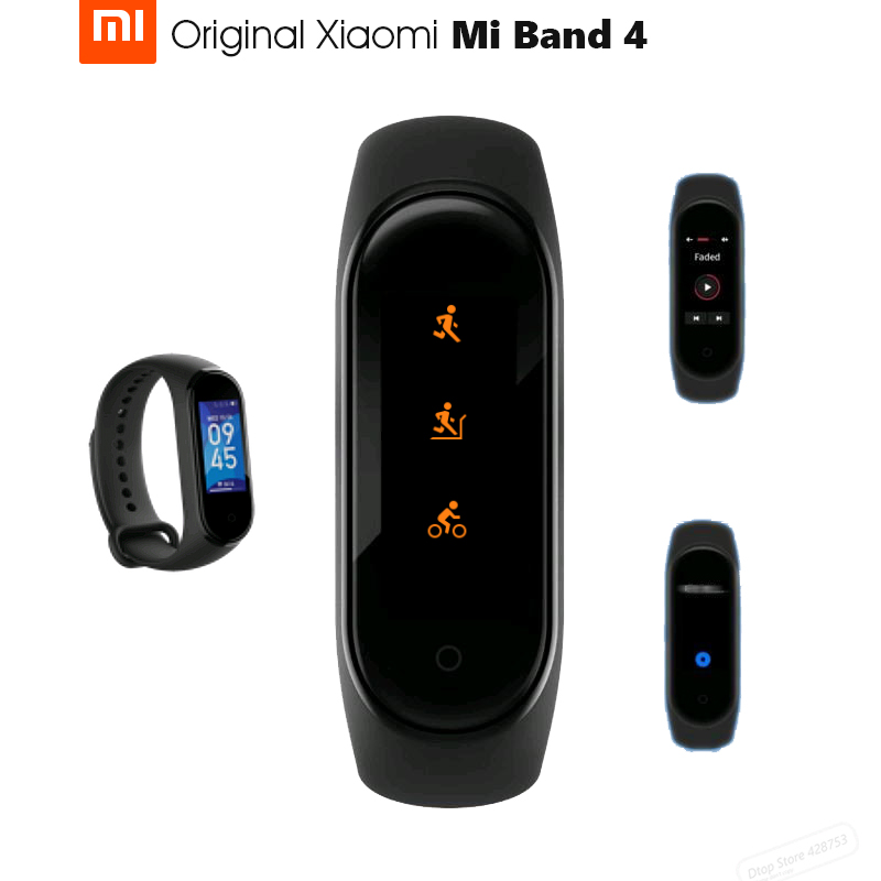 Original Xiaomi Mi Band 4 Smart Bluetooth 5.0 Wristband Fitness Bracelet AMOLED Color Touch Screen Music AI Heart Rate