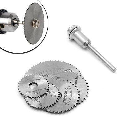 5Pcs Cut Off Saw Blades HSS Cutting Discs + 1 Mandrel For Rotary Blade Tool M20