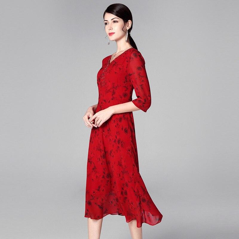 1950 V 4xl Nouveau Diamant Motif cou Une Rose S Robe 2019 Printemps Bikinis De Perles Été Femme Style Taille Mode Grande fbvYyg76