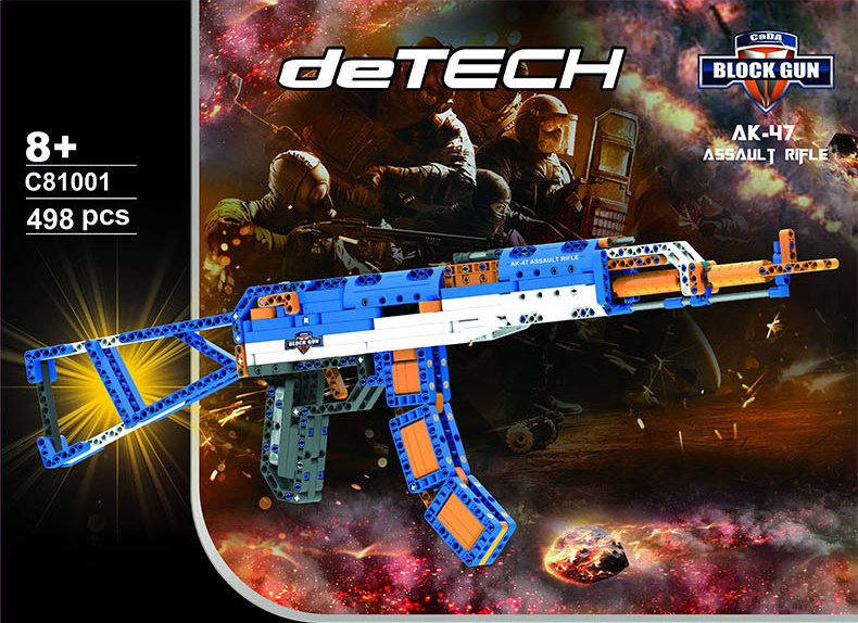 Hot Modern military weapons building block AK 47 model assemblage toys rubber band gun bricks collection