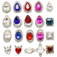 ##AB Auroa 3D Glass Rhinestones Tear DropCrystal Wholesale 100PCs Charming Alloy Nail Charm Rhinestone For Nail Charm Studs