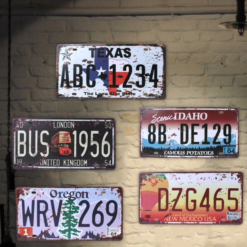 QILEJVS USA Vintage Metal Tin Signs Route 66 Car Number License Plate Plaque Poster Bar Club Wall Garage Home Decoration 16*30cm
