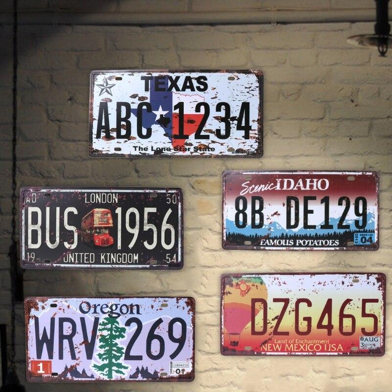 Image 2 - QILEJVS США винтажные металлические жестяные знаки автомобильный номер номерной знак табличка Плакат Бар Клуб стены гаража украшения дома 16*30 см-in Номерной знак from Автомобили и мотоциклы