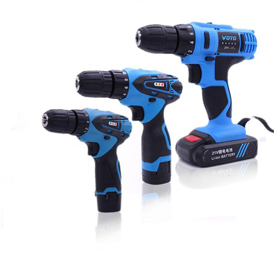 LED Light Cordless Screwdriver Electric Drill Two-Speed Rechargeable 2 pcs Lithium Batteries Waterproof Electric Drill 25v cordless drill electric two speed rechargeable 2pcs lithium battery waterproof drill led light
