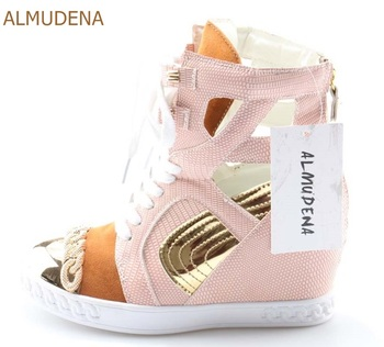 ALMUDENA Top Brand Women Chic Sneakers Height Increasing Wedge Heels Leisure Shoes Gold Chain Patchwork Casual Shoes Booties