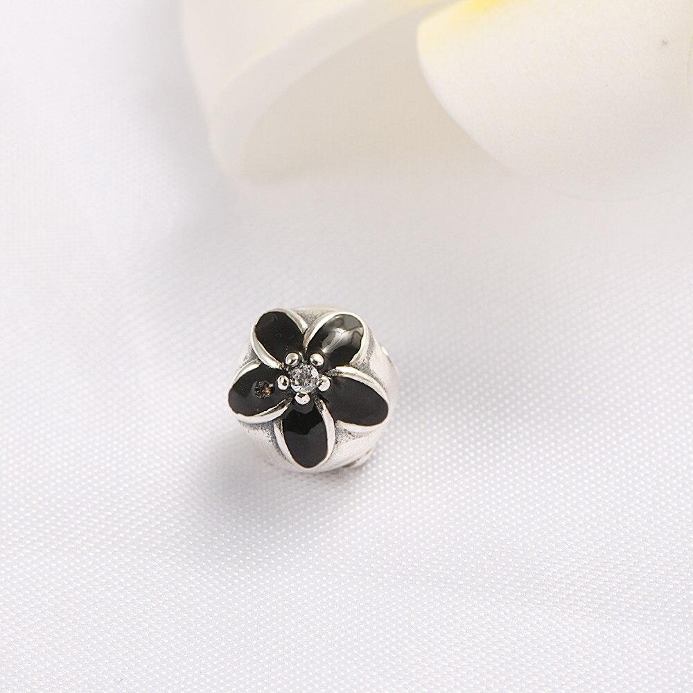 ae4992da0 ... 925 Sterling Silver Beads Clear CZ Black Enamel Mystic Floral Clip Charm  Fits Pandora Bracelets ...