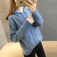 Autumn Female Sweater New Loose Fashion Lady Pullover Sweater Winter Hooded Keitted Pullover Sweters Women Invierno 2018 Vs096