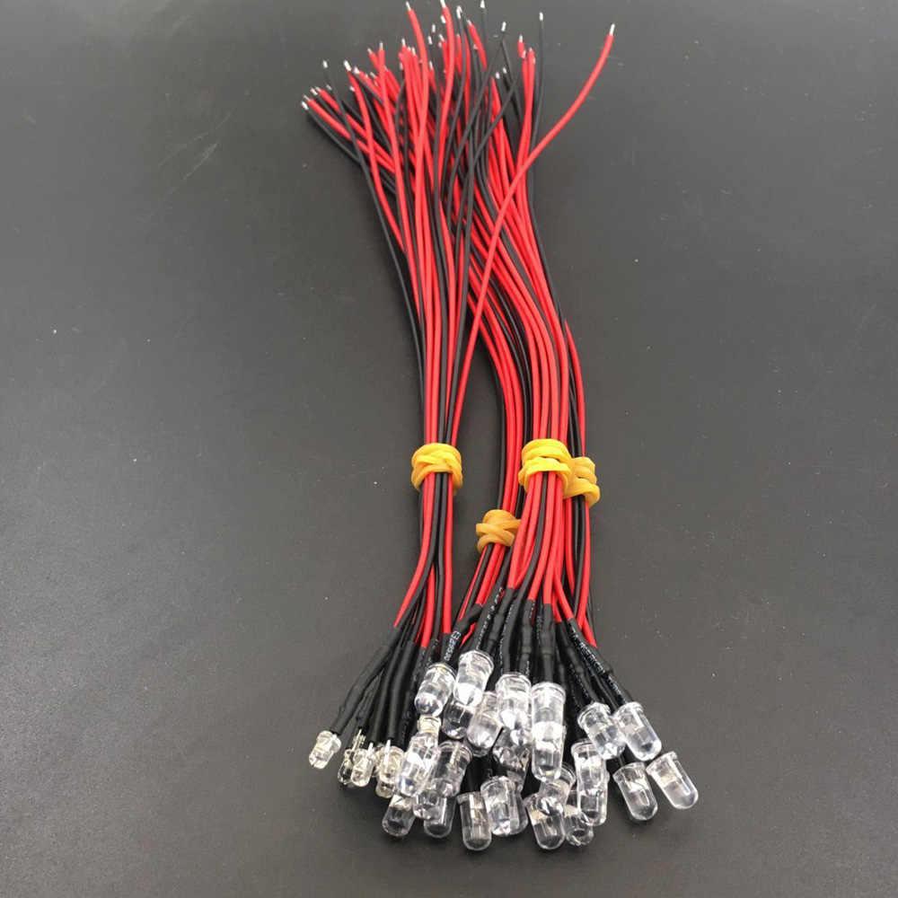 3mm Flat Top White pre wired LED light lamp bulb 5V 6V 9V 12V DC 20cm 20 PCS