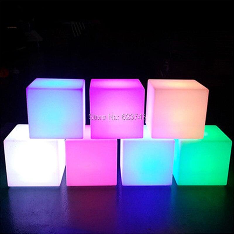 4 pcs/lot 20 CM extérieur intérieur CUBE étanche rechargeable LED veilleuse lumineuse cube lampe de table pour chambre de noce