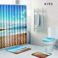 Коврики для туалета синий океан Рождество ванная комната занавеска и набор ковриков для ванной 3D коврики для ванной домашний декор одеяло ...
