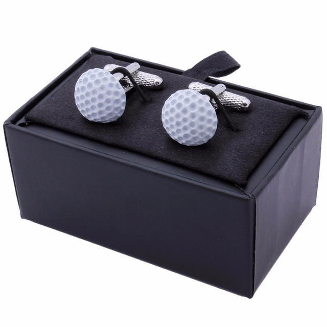 Style Mens Golf Cufflinks White Enamel Jewelry Ceremony