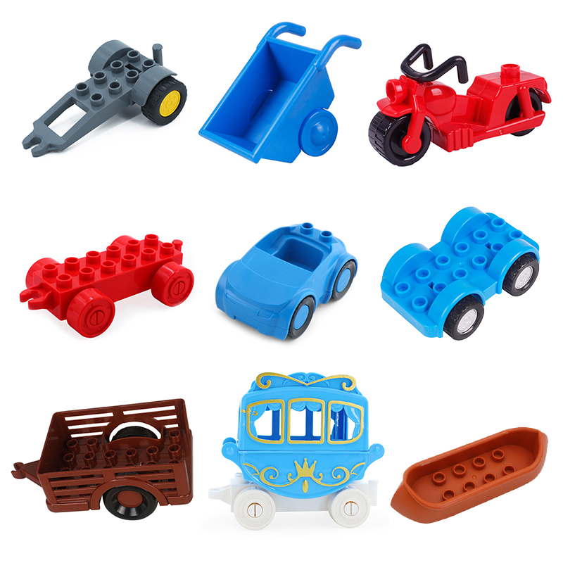 Traffic Vehicle Accessory Big Building Blocks Motorcycle Carriage Trailer Boat Bricks Toy For Children Compatible With Duplo Set
