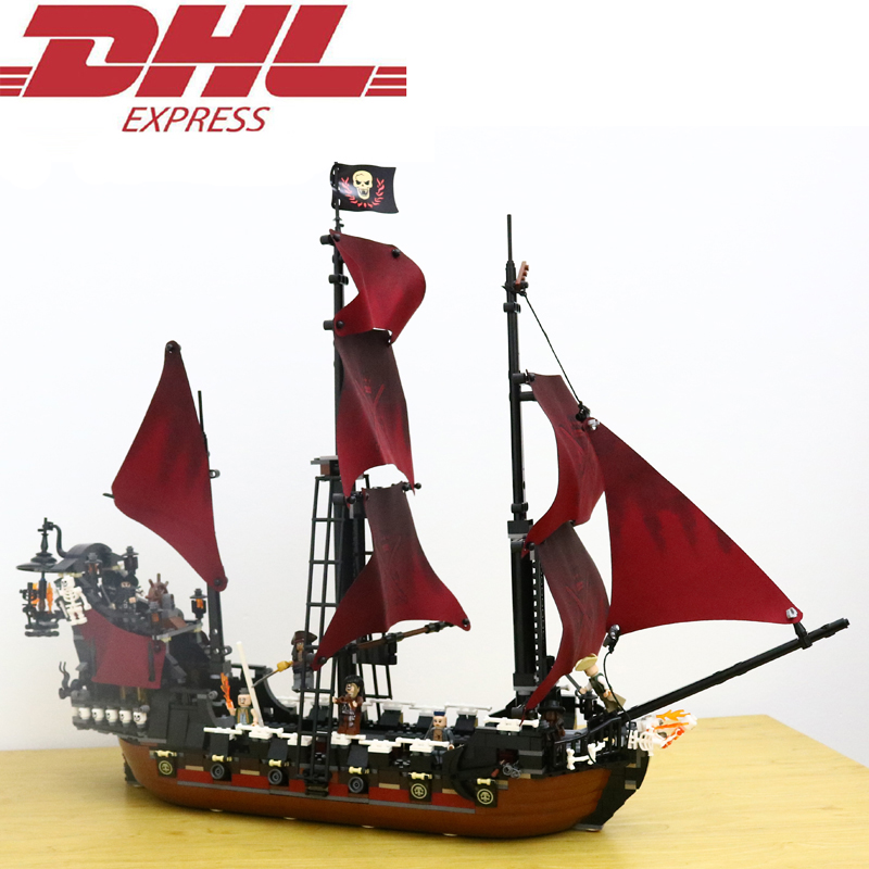 1151Pcs Pirates Of The Caribbean Queen Anne's Reveage Model Building Kits Blocks Bricks Toys For Children Compatible With 4195 free shipping new lepin 16009 1151pcs queen anne s revenge building blocks set bricks legoinglys 4195 for children diy gift