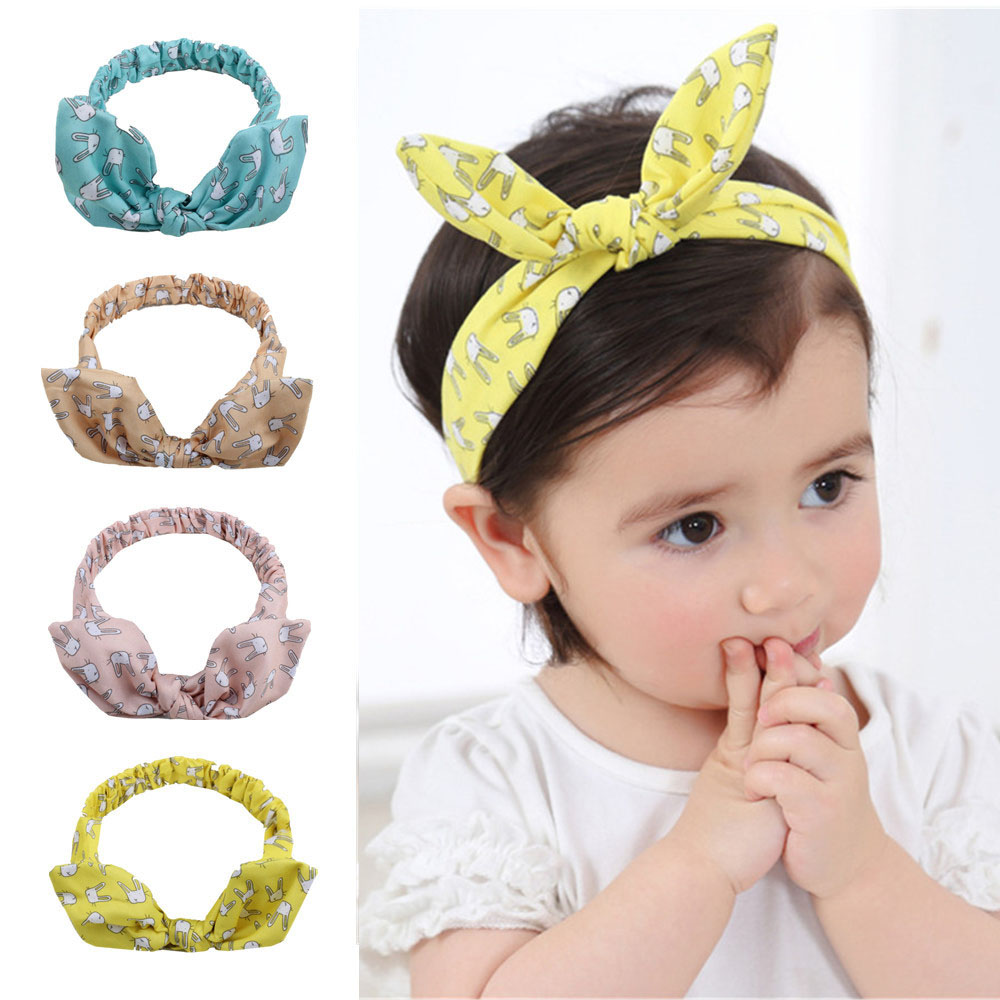 Baby Headband Rabbit Handmade DIY Toddler Infant Kids Hair Accessories Girl Newborn Bows Bowknot Bandage Turban Tiara 4 Colors