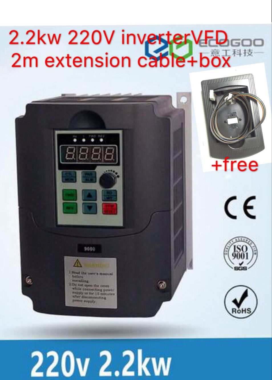 цена на 2.2KW 220V 3HP Variable Frequency VFD Inverter Output 3 phase 400Hz 10A & Extension cable/control panel box