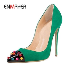 ENMAYER Pointed Toe Casual Zapatos Mujer Tacon  Slip-On High Heel Shoes Basic Super Fashion 2019 Pumps Size 35-45 LY1237
