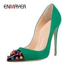купить ENMAYER Pointed Toe Casual Zapatos Mujer Tacon  Slip-On  High Heel Shoes  Basic  Super High Fashion 2019 Pumps Size 35-45 LY1237 дешево