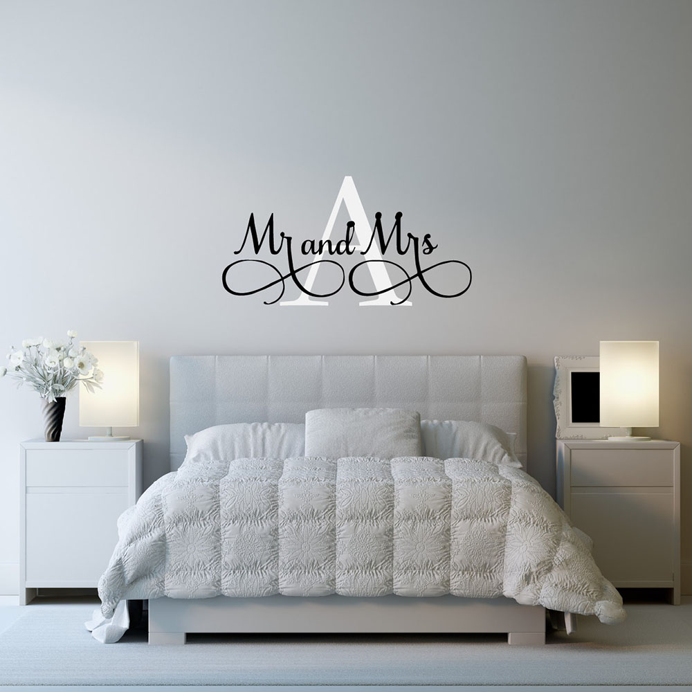 Exceptional Mr U0026 Mrs Wall Stickers Custom Name Vinyl Wall Decals Bedroom Wall Decor  Wall Art Personalized Wallpaper 608C In Wall Stickers From Home U0026 Garden On  ...
