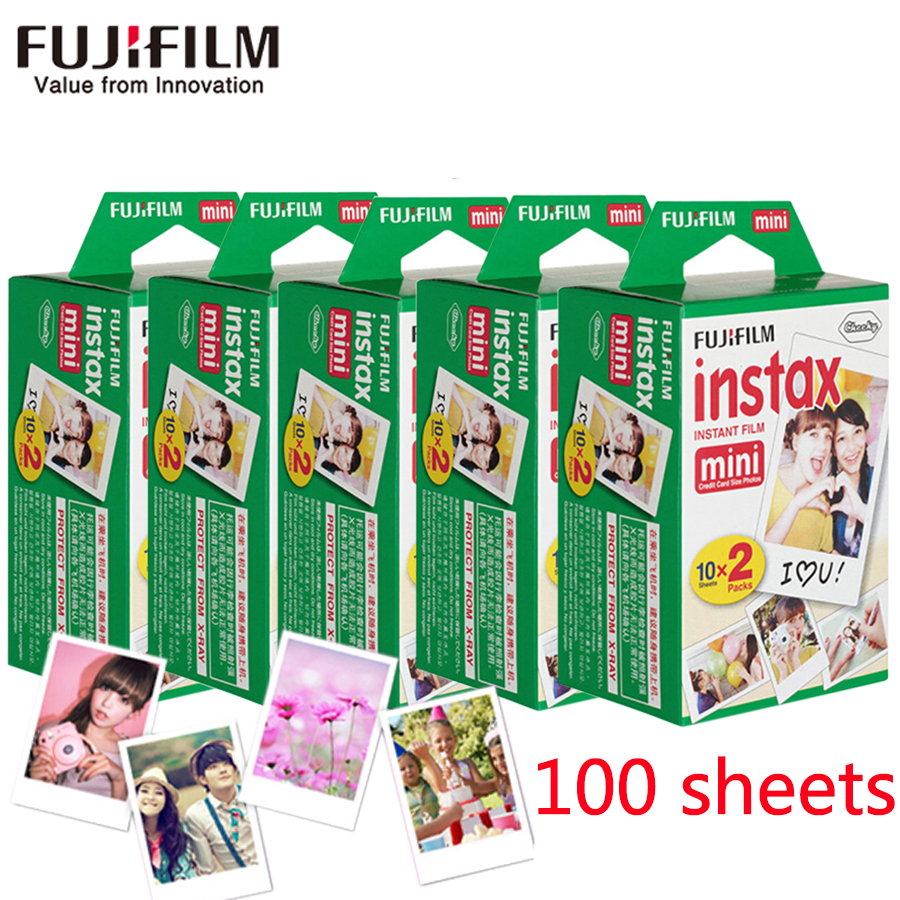New 100 sheets Fujifilm instax mini 8 film white Edge 3 Inch wide film for Instant Camera mini 8 7s 25 50s 90 Photo paper fujifilm instax mini 8 instant film photo camera 10 sheets films 3 inch hang photo favorites 5 pcs photo corner stickers