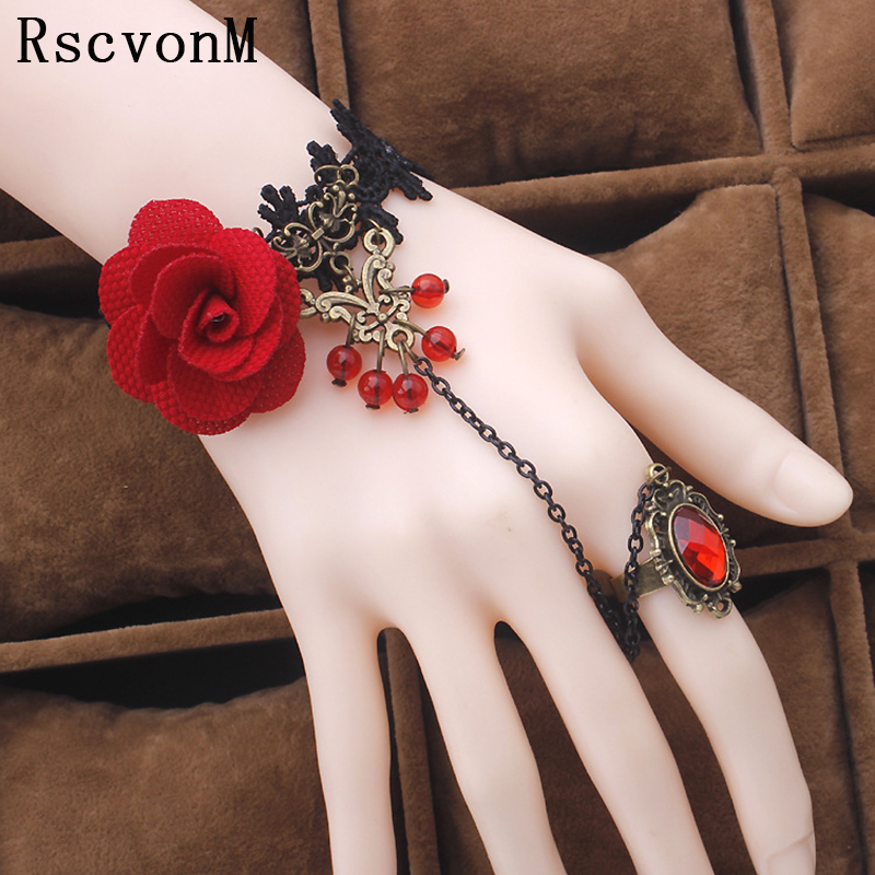 Fashion jewelry red rose flower cane temperament of crystal lolita lace <font><b>bracelet</b></font> with <font><b>ring</b></font> one opisthenar jewelry Jewelry image