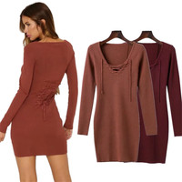 Europe And The United States Style Women Sexy V Neck Knitted Sweater Mini Dress Female Autumn
