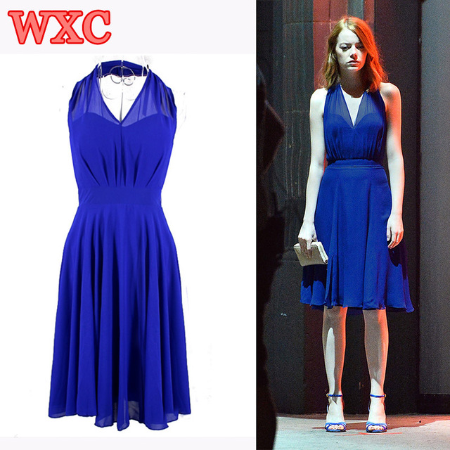 La La Land Emma Stone Mia Cosplay Dress Costume Blue Backless Elegant Women  Long Dresses V-neck Sexy Evening Party Dress WXC cabd37bc4332
