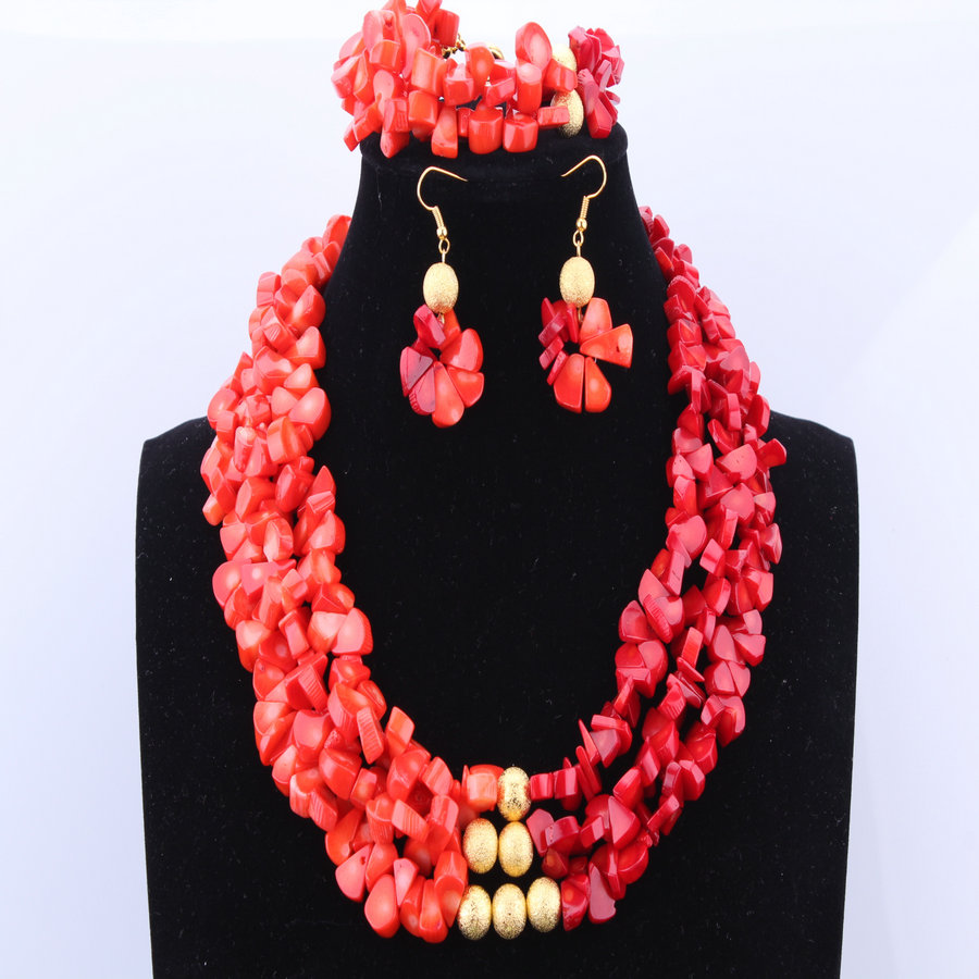Free Shipping Two Colors African Coral Jewelry Sets Coral
