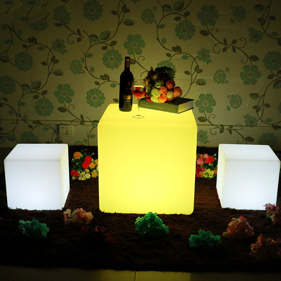 Thrisdar Waterproof LED Cube Chair Light USB Rechargeable Swimming Pool Party Bar Table Stool Light KTV Hotel Plastic Table Lamp