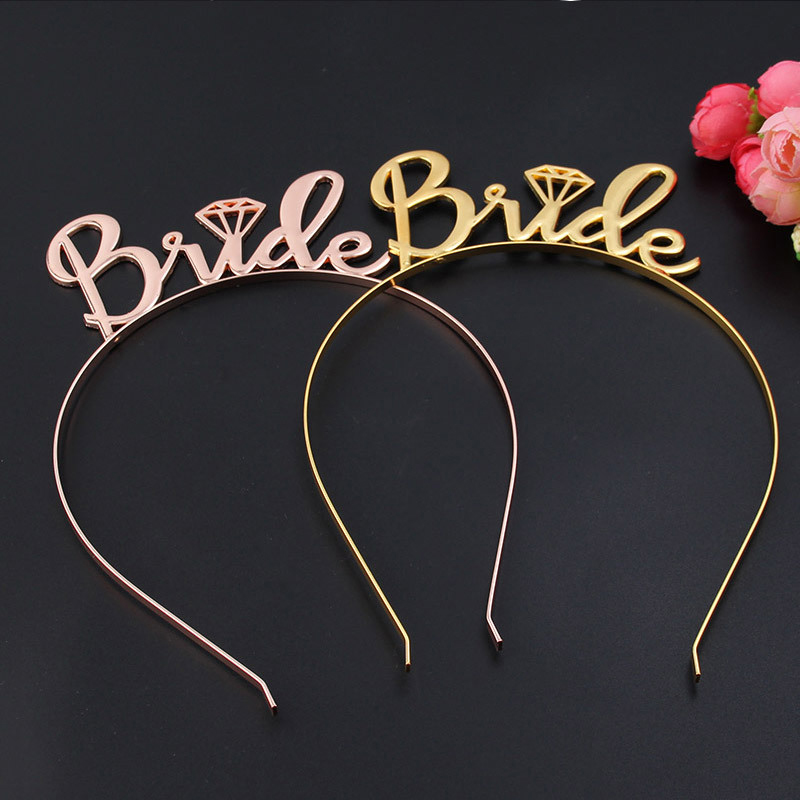 Rose Gold Alloy Crown Bridal Shower Hen Party Supplies Wedding Decoration Hot