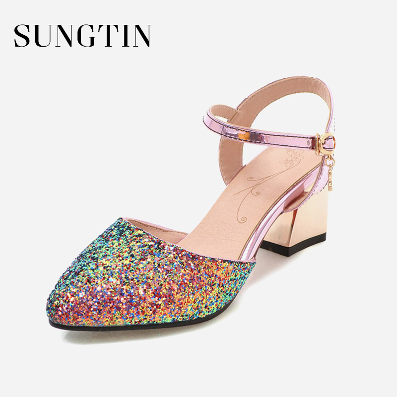 Sungtin Bling Ankle Wrap Sandals Women Chic Pointed Toe Chunky High Heels  Lady Elegant Party Pumps Summer Sandals Large Size-in High Heels from Shoes  on ... 237fb149a00e