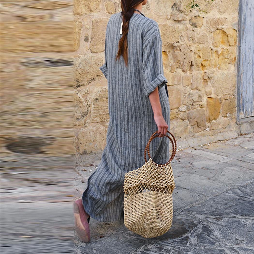 294bfec503 Moda mujer algodón Lino vestido largo flojo rayado Maxi vestido con manga  larga Bolsillo grande v cuello vestidos más tamaño otoño en Vestidos de La  ropa de ...