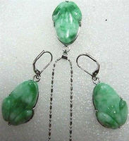 Women S Gift Jewelry 18K WGP Word Valentine S Day Green Jade Frog Pendant Necklace Earrings