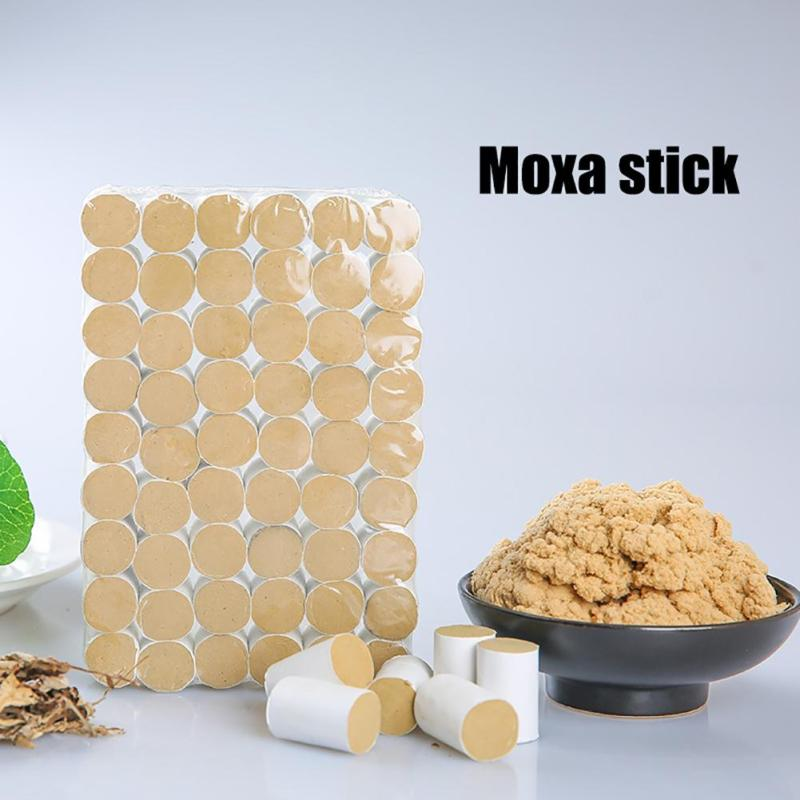 54pcs Moxa Stick Moxibustion  Acupuncture Heat Therapy Body Relax Massager  Meridians Dredge Massage Moxa Roll L35 eye and facial massage 7mm diameter copper moxibustion rod beauty spa with 10 pcs moxa stick acupuncture map
