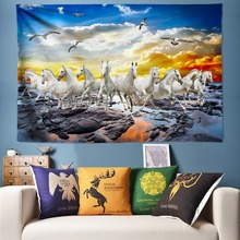 Galloping Horse Decoration Wall Tapestry Large Wall Hanging Boho Fabric 3D Art Painting Big Poster for Livingroom Kid Bedroom стоимость