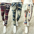 Men Elastic Loosen Flower Beach Holiday Joggers Casual Demin Printed Jogger pants 2016 Spring New Retro Harem Pants