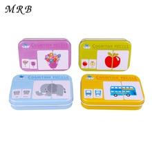 Детские игрушки, железная коробка, игра-головоломка, карточная, для обучения китайскому, английскому, фруктовому, животному, дорожному, образовательная, oyuncak, Монтессори, наклейки
