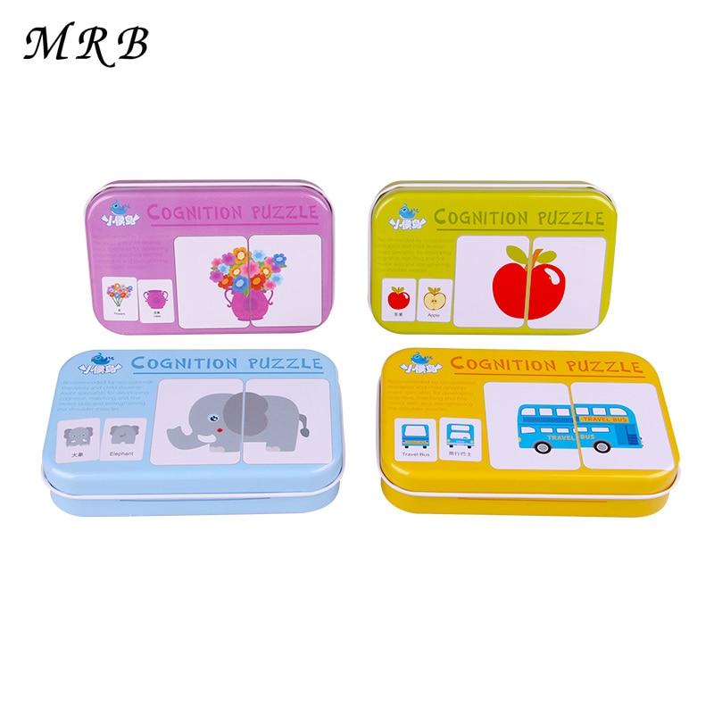 Παιχνίδια μωρών Σίδερο-κουτί Παιχνίδι παζλ Κάρτα εκμάθησης Κινέζικα Αγγλικά Φρούτα Μετακίνηση των ζώων Εκπαιδευτικά oyuncak Αυτοκόλλητα Montessori