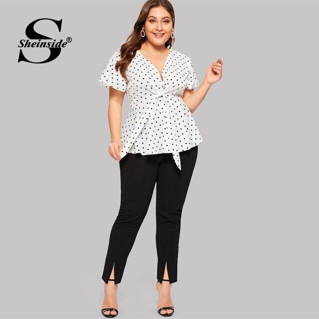 Sheinside Plus Size White Elegant Polka Dot Print Top Women 2019 Summer V Neck Knot Front Blouse Ladies Flared Hem Trim Tops 3