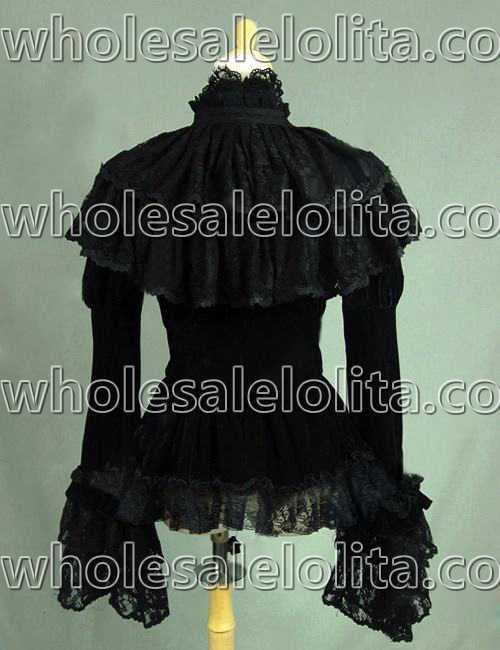 Strega Gotico Teatro Vampiro Velvet Color Camicetta Top Black Image Costume Steampunk Vittoriano Zr84qYrw